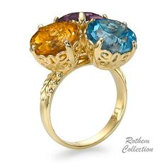 Three Gemstone Multi Cocktail Ring, featuring citrine, blue topaz and amethyst gemstones weighing 13.17 carat. Rothem Collection SKU: RR-3-COLOR
