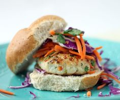 Spicy Chicken Burgers with Carrot & Cabbage Slaw
