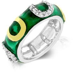 Genuine Rhodium Plated and 18k Gold Plated Ring with Horseshoes and Dark Green Enamel Overlay with Handset Clear Cubic Zirconia in Two-Tone