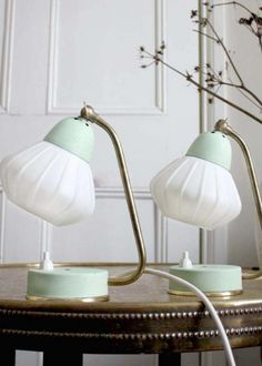 Beautiful Art Deco twins #vintage #lamps, picture them with a twisted fabric cord, to complete this unique look