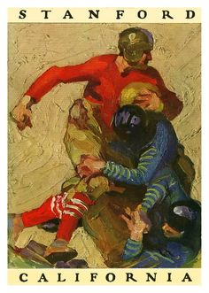 1925 Stanford Cardinal vs California Bears 36x48 Canvas Historic Football Poster