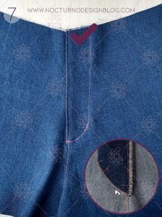 Cómo coser la cremallera para jean – Nocturno Design Blog Sewing Hacks, Sewing Tutorials, Sewing Patterns, Design Blog, Zip, Stitches, Projects, Fashion, Tejidos