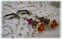 New w/Swarovski Amethyst/Topaz/Clear Crystal Dangle Earrings