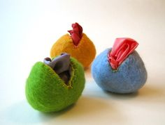 wet felted egg with playsilk...a handful of these would make a sweet toddler gift