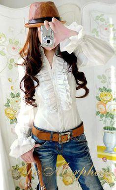 Morpheus Boutique  - White Designer Vintage Lady Ruffle Collar Shirt/top