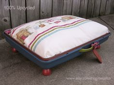 100% Upcycled Vintage Suitcase Pet Dog Bed with Door Knob Feet! Pillow cover made from repurposed cloth shower curtain.  http://www.etsy.com/shop/decalico