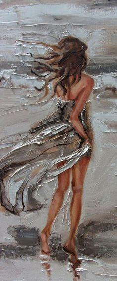 """ LONELY WALK  ... "" SEA original painting palette knife GIFT MODERN URBAN ART OFFICE ART DECOR HOME DECOR GIFT IDEA by Monika Luniak #OilPaintingPalette"