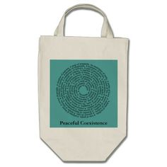 """Animal group names (like """"An exaltation of larks""""), including human beings, are arranged in a meditative spiral on the front of this 100% organic grocery tote with the words """"Peaceful Coexistence"""" printed below it. The organic tote is a graphic way to make a bold philosophical statement. Feel free to customize the tote to make it distinctly yours."""