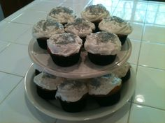 White Cupcakes with Vanilla Buttercream Frosting and Silver Sprinkles
