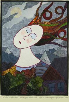 """Dreams"", 20 x 28"", quilt by Maria Michurina.  Contemporary quilt art association."