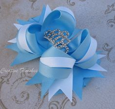 Cinderella Hair Bow Tiara Rhinestone Center White and Blue Princess Bow sold by creativefinishes. Shop more products from creativefinishes on Storenvy, the home of independent small businesses all over the world. Princess Hair Bows, Princess Sofia, Cinderella Hair, Disney Hair Bows, Baby Girl Hair, Princess Hairstyles, Bow Accessories, Making Hair Bows, Diy Bow