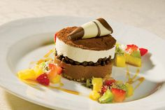 Fine Cuisine Photography, Restaurant Photography, Tiramisu surrounded by fruit, New Jersey