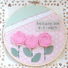 6 inch custom name and birthdate hoop art in by BlossomAndVine. $24.00, via Etsy.
