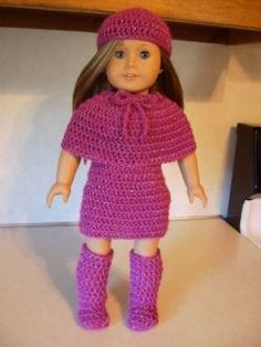 Free Crochet Pattern for Jazzy Winter Outfit for American Girl Doll.