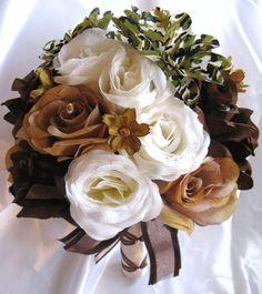 Wedding Bouquet Bridal Silk Flower Camouflage Cream Brown Ivory Camo 17pc | eBay