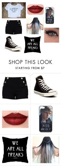 """""""Untitled #66"""" by erementaruartist on Polyvore featuring Boutique Moschino and Converse"""
