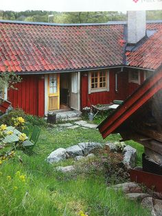 Old swedish house Swedish Cottage, Red Cottage, Cottage Design, House Design, Farm Lifestyle, Sweden House, Red Houses, House In Nature, Scandinavian Home