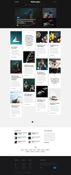 Philosophy Free responsive HTML5 Bootstrap Masonry Blog template - HTMLTEMPLATES.CO Css Grid, Web Design, Grid Layouts, Mood Boards, Style Guides, Philosophy, Templates, Blog, Free