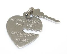 Sterling Silver He Who Holds The Key Can Unlock My Heart Charm 1.9 Grams