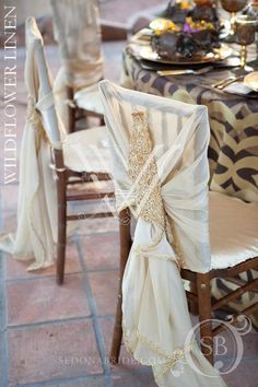 Obsessed with this new linen company! Carrington Gold Linen; Nala Chair Sleeve; Charmeuse Champagne Chair Pad Covers