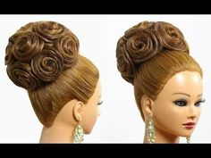 Bridal wedding updo. Hairstyles for long medium hair - YouTube