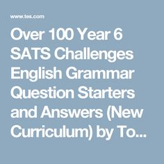 32 best year 6 sats images on pinterest year 6 2nd grades and sats over 100 year 6 sats challenges english grammar question starters and answers new curriculum fandeluxe Images