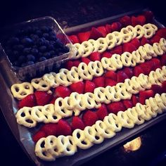 4th of July Snack...saw this idea with banana's but they brown so quickly so the pretzels are awesome! by erika