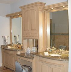 Solid Hardwood Master Bath With His & Her Sinks & Mirrored Back & Square Raised Panel Doors www.canarycabinets.com