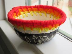 5th grade Native American style yarn weaving with white clay sgraffito base; lesson by art teacher: Susan Joe