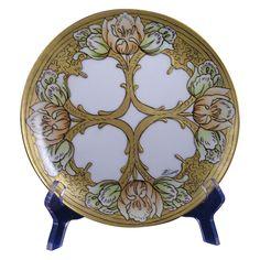 "Arts & Crafts Triple Tulip Design Plate (Signed ""Lois George""/c.1910-1930)"