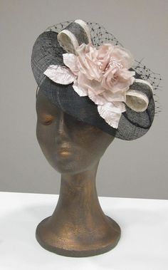 Blak and mink sinamay cocktail hat - dress hat - races, derbies, wedding - fascinator hat via Etsy