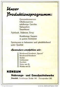 Original-Werbung/ Anzeige DDR 1958 - KONSUM PRODUKTIONSPROGRAMM STENDAL - ca. 120 x 160 mm