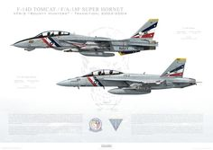 VF-2 to VFA-2 Bounty Hunters Transition, 2003-2004 / F-14D Tomcat - - Museum Quality Custom Aviation Prints   #jet #F18 #F14