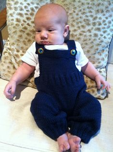 These overalls are knit in the round from the bottom up.