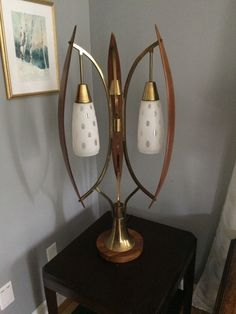 Vintage MCM 1960s walnut, brass & glass lamp, Danish modern Modeline, Kagan  How cool is this one!!!!