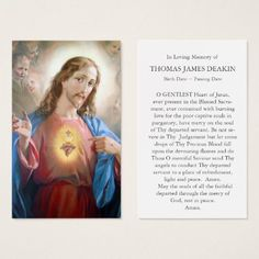 Prayer Cards For Funeral, Memorial Cards For Funeral, Funeral Thank You Cards, Funeral Prayers, Jesus Prayer, Jesus Christ, Heart Template, Catholic Prayers, Business Card Size