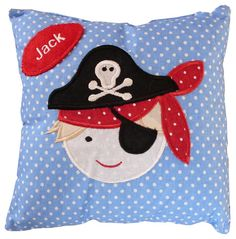 Personalised Handmade Pirate Boys Patchwork Design Small Nursery Cushion  gift