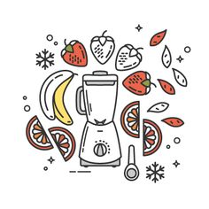 A deliciously sweet Strawberry, Orange & Goji Smoothie. Smoothie Menu, Smoothie Shop, Smoothies, Flat Illustration, Food Illustrations, Graphic Design Illustration, Menu Design, Logo Design, Goji