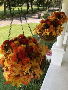Baskets from Home Depot, flowers from Michaels , DIY Fall hanging baskets! Baskets from Home Depot, flowers from Michaels. Fall Hanging Baskets, Artificial Hanging Baskets, Hanging Plants, Trees For Front Yard, Front Porch, Home Depot, Porch Plants, Landscaping Plants, Holiday Baskets