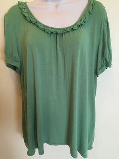 Women's George XL 16/18 Stretch Blouse Short Sleeve GREEN  EUC #George #Blouse