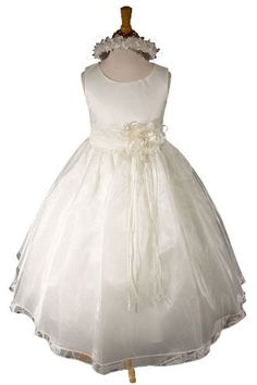 $99.99 Baby THE MATCHING HAIR WREATH IS ALSO INCLUDED WITH YOUR PURCHASE! This Princess Dress is perfect for a Wedding as a Flower Girl Dress, Pageant Holiday Dress, Easter Dress, A Concert if your child gives musical recitals or Heavenly Keepsake pictures. This elegant bodice is made out of ivory satin. There is a satin band with a removable flower on the waistline to make this dress more beaut ...