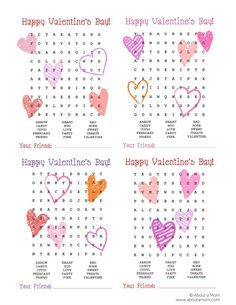 Word Search Printable Valentines - About a Mom Valentines Word Search, Valentine Bingo, Valentine Words, Valentines Games, Valentines Gifts For Boyfriend, Valentines Day Party, Valentines For Kids, Valentine Day Crafts, Valentine Ideas