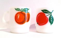 A Pair Of Vintage Apple and Orange Termocrisa Mugs by RetrouverBiz, $12.00