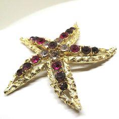 Purple and Pink Rhinestone Brooch - Vintage, Gold Tone, Rhinestones, Starfish Pin, Coro Signed by MyDellaWear on Etsy