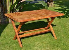 custom redwood folding table