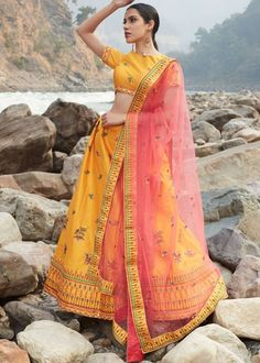 #yellow #embroidery #lehenga #choli #dupatta #indianwear #traditional #outfit #beautiful #bride #new #designer #collection #ootd #wedding #time #womenswear #online #shopping Yellow Lehenga, Silk Lehenga, Sari, Lehenga Choli Online, Silk Material, Lace Border, Wedding Wear, Mustard Yellow, Silk Satin