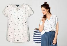 Bluse mit Tunika-Ausschnitt - aus reiner Viskose #ullapopken #bluse #printbluse #plussizemode #damenmode #plussizestyle