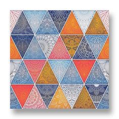 Triangular Mandala Pattern Canvas Print.  This canvas print has complicated mandala patterns arranged in a tiled triangular pattern.  The blue, red and orange tones is visually pleasing while the intricate patterns will fascinate any onlooker.