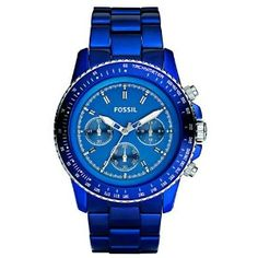 Fossil Stella Dark Blue Aluminum Chronograph Mens Watch CH2710. List price: $185.