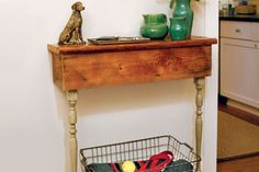 How to Build a Table From Stair Parts Create a space-saving central repository for keys, leashes, and mail in your front entry using vintage stair parts Staircase Spindles, Stairs, Half Table, Build A Table, Ikea Furniture, Furniture Plans, Luxury Furniture, Hallway Decorating, Decorating Ideas